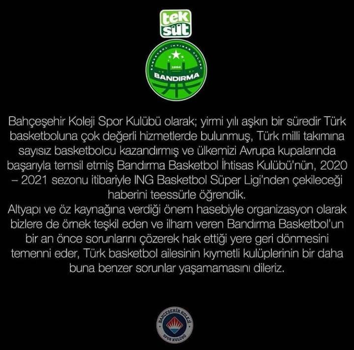 Bahçeşehir Koleji Basketbol Kulübünden Açıklama