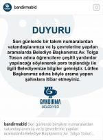 Bandırma Belediyesi'nden acil duyuru
