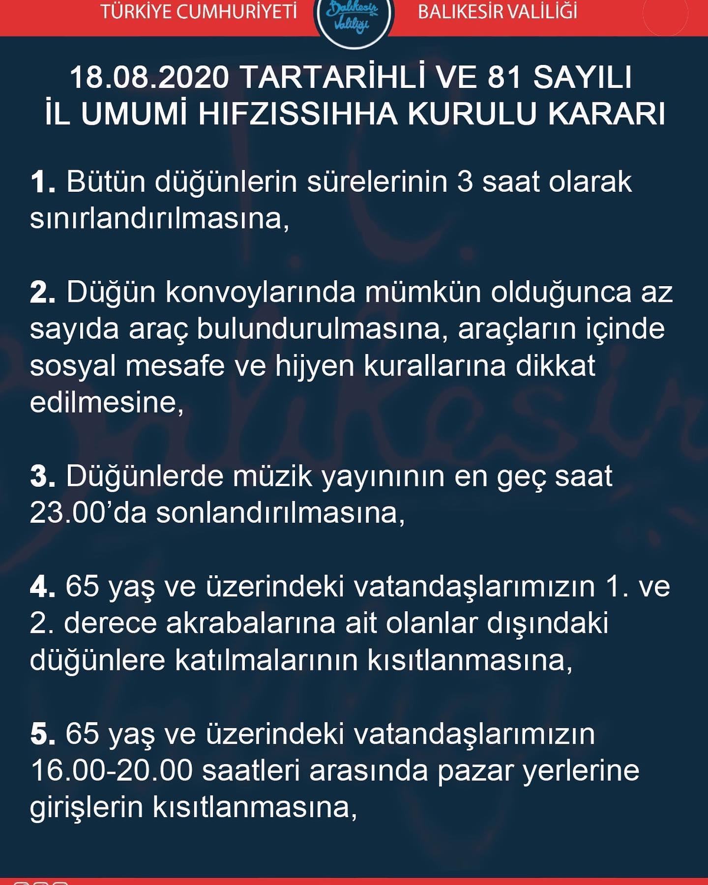 PANDEMİ TEDBİRLERİNE İLİŞKİN İL HIFZISIHHA KURULU KARARI