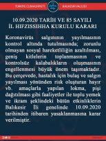 EK PANDEMİ TEDBİRİNE İLİŞKİN İL HIFZISSIHHA KURULU KARARI