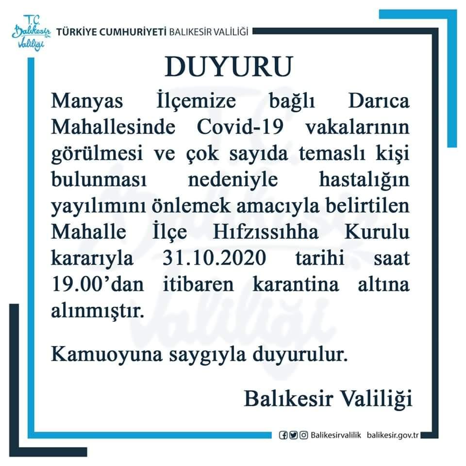 Manyas Darıca Mahallesi Karantinaya Alındı