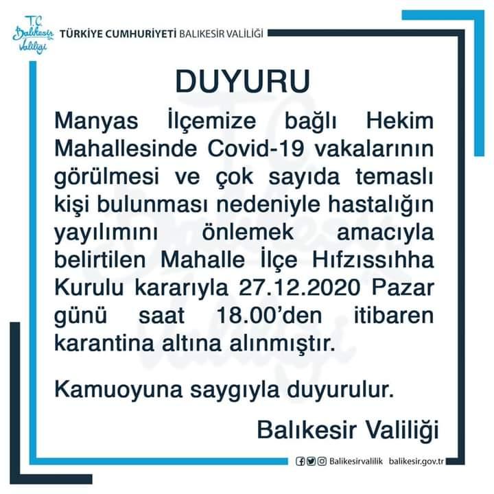 MANYAS HEKİM MAHALLESİ KARANTİNADA