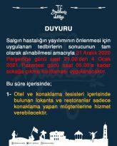 VALİLİK'TEN, OTEL VE KONAKLAMA TESİSLERİ İÇİN YILBAŞI UYARISI