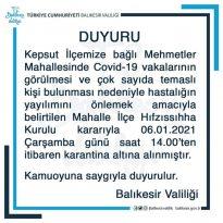 KEPSUT MEHMETLER MAHALLESİ KARANTİNAYA ALINDI