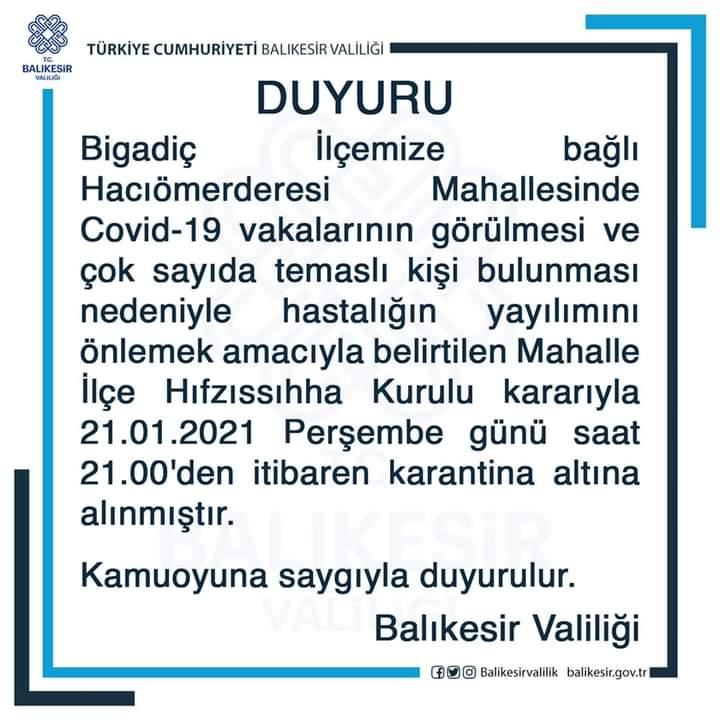 BİGADİÇ DE BİR MAHALLE KARANTİNADA