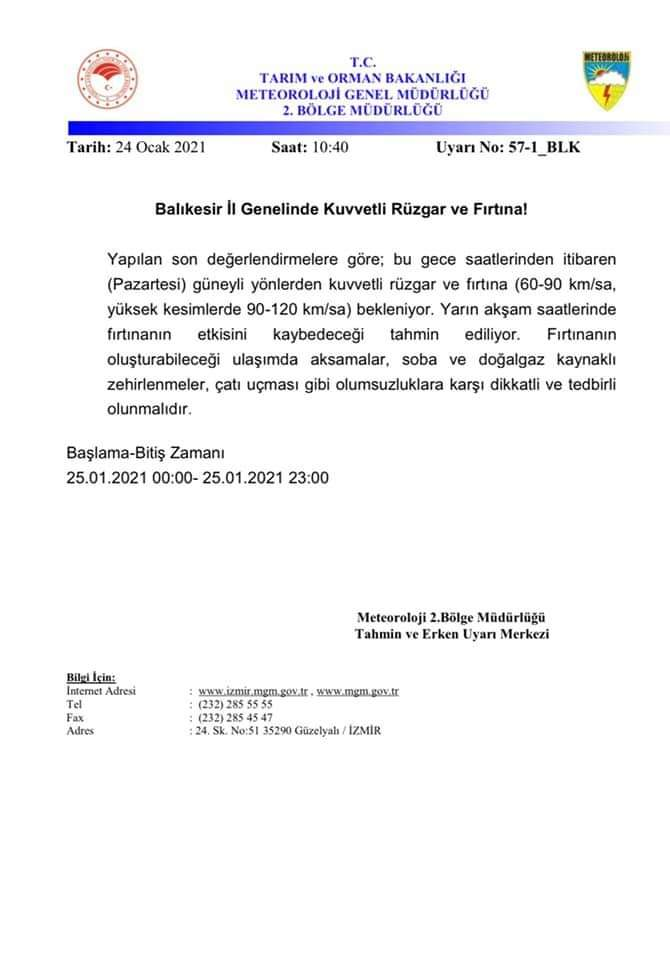 METEOROLOJİ'DEN UYARI