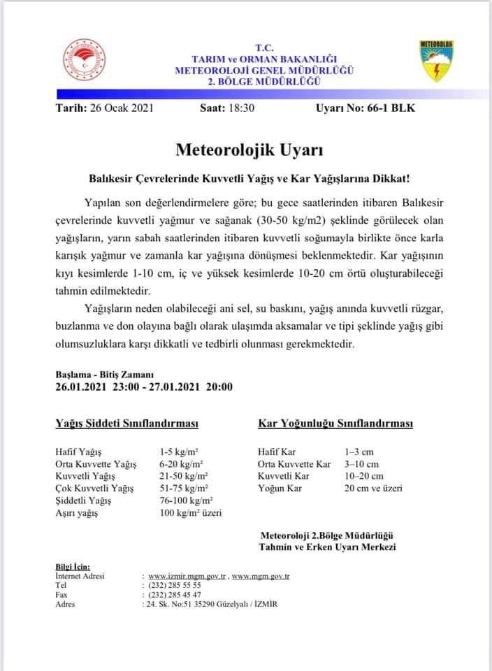 METEOROLOJİ'DEN UYARI KAR GELİYOR