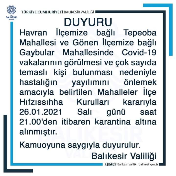 İKİ MAHALLE KARANTİNADA