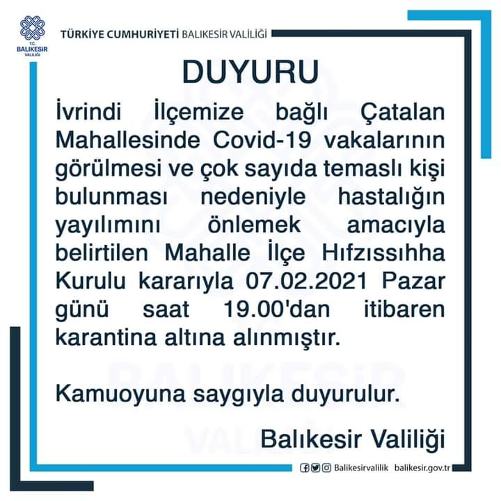 İVRİN İLÇESİ ÇATALAN MAHALLESİ KARANTİNADA