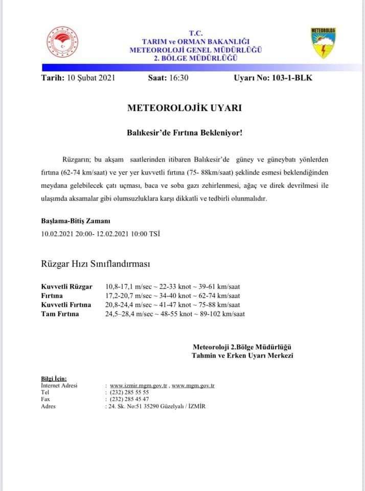 METEOROLOJİ'DEN UYARI HAVA SICAKLIĞI AZALACAK, FIRTINAYA DİKKAT…!!!