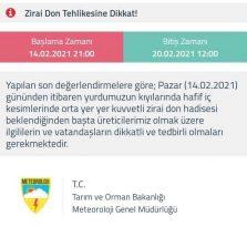 METEOROLOJİ'DEN UYARI ZİRAİ DON TEHLİKESİNE VE KAR YAĞIŞLARINA DİKKAT… ! ! !