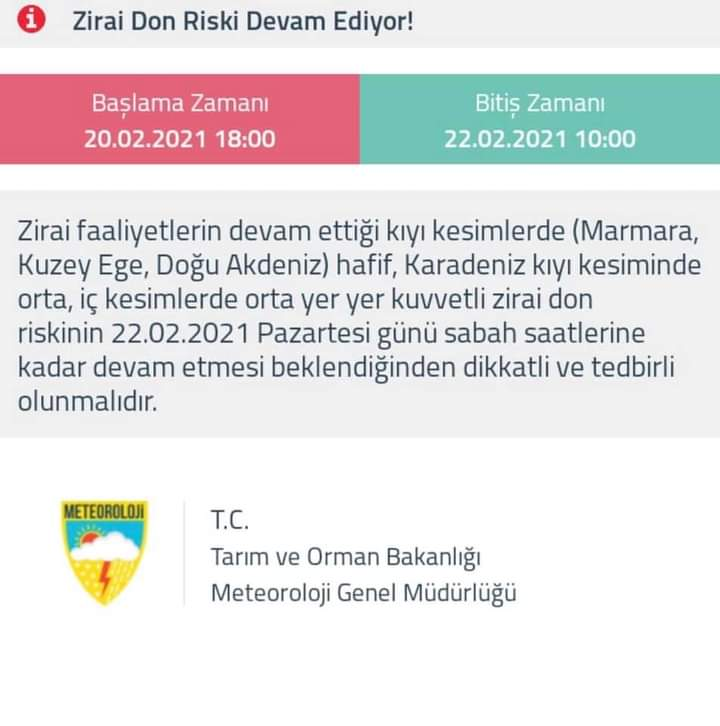METEOROLOJİ'DEN UYARI ZİRAİ DON TEHLİKESİ.. ! ! !