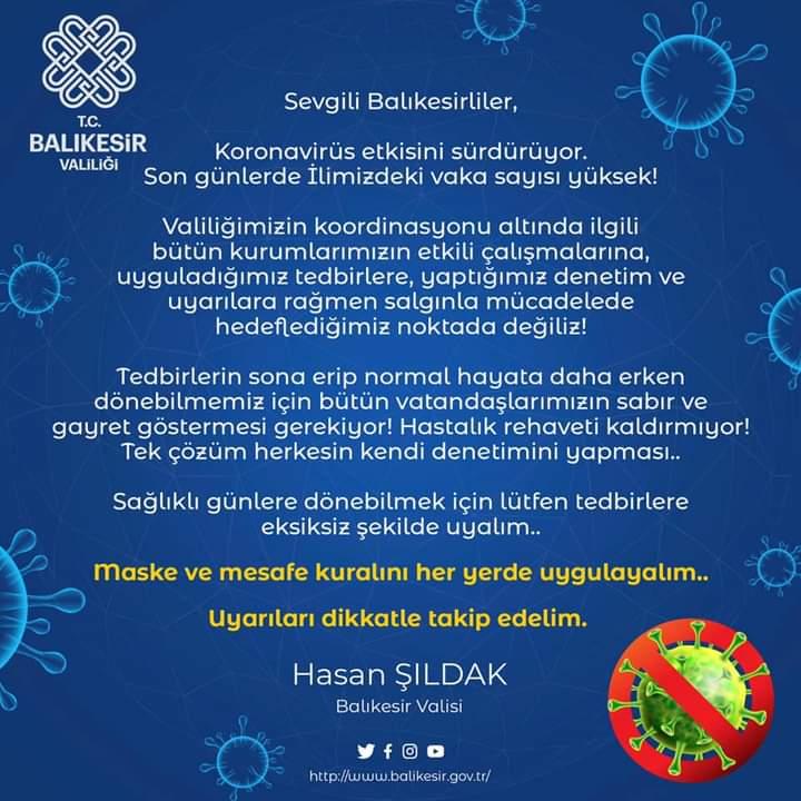 VALİ ŞILDAK, BİR KEZ DAHA UYARDI… ! ! !