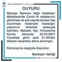 MANYAS, KALEBAYIR MAHALLESİ KARANTİNADA