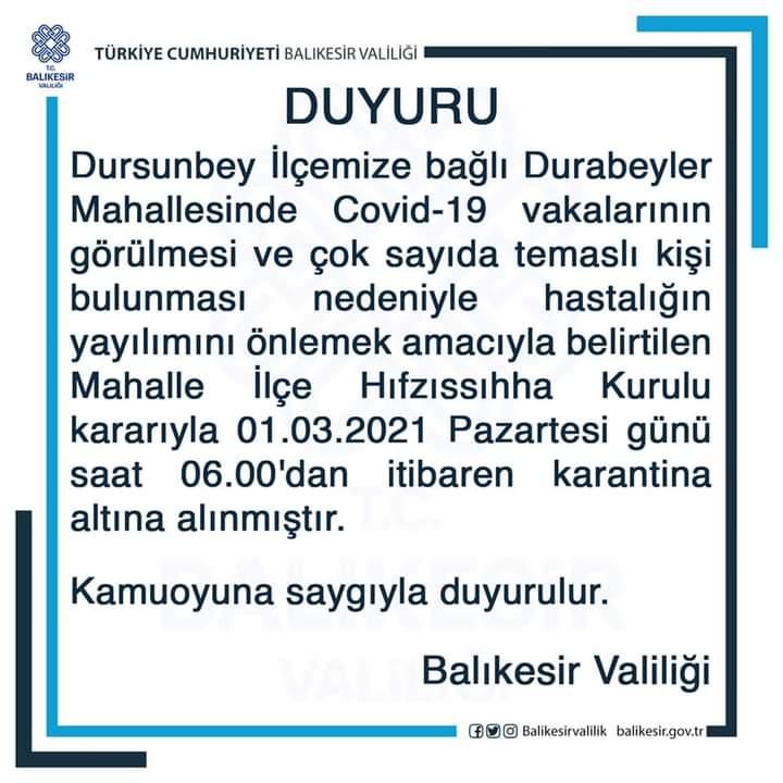 DURSUNBEY, DURABEYLER MAHALLESİ KARANTİNADA