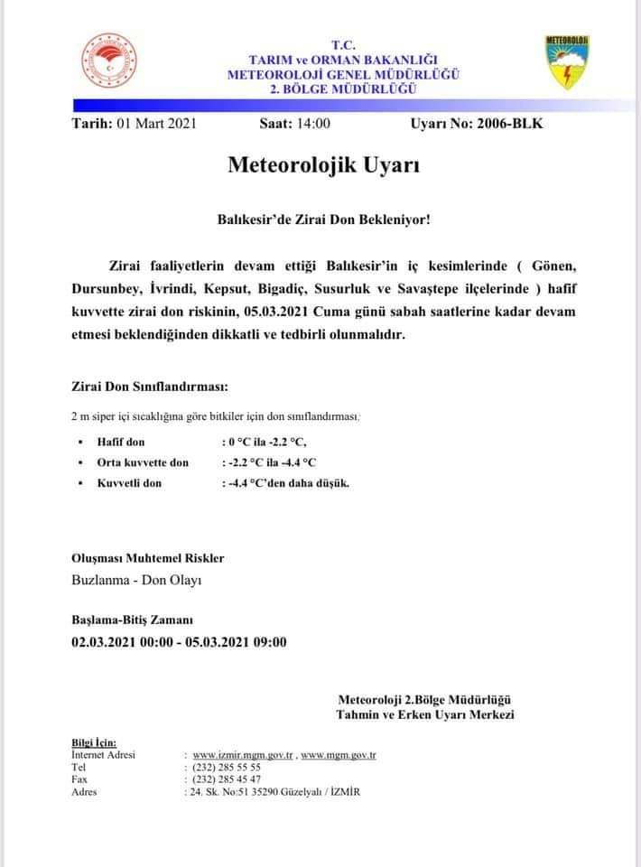METEOROLOJİ'DEN ZİRAÎ DON TEHLİKESİ UYARISI